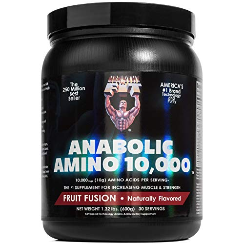 Healthy N Fit ANABOLIC AMINO 10,000 POWDER - Natural Fruit Fusion - EAA & BCAA. 30 Servings (1.32 lbs). 10,000 mgs Amino Acids per serving.