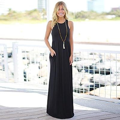 Ghazzi Women Dress Casual Loose Plain Sleeveless Racerback Camisole with Pockets Long Maxi Dress Summer Beach Tank Sundress at  Women's Clothing store