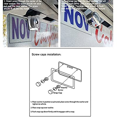 SunplusTrade License Plate Frame Black Matte Powder Coated Aluminum with Screw Caps (2 Pieces 2 Holes): Automotive