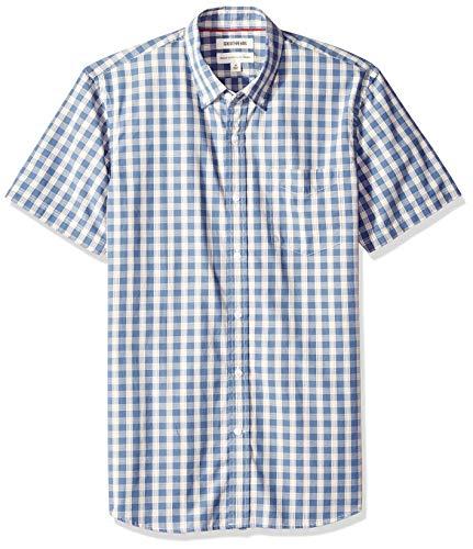 Goodthreads Men's Standard-Fit Short-Sleeve Plaid Poplin Shirt, -indigo check, Small Check Casual Mens Shirt