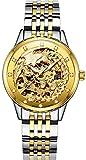 PASOY Womens Automatic Mechanical Watches Steel Sapphire Glass Waterproof Phoenix Skeleton Watch 33MM