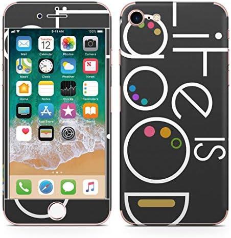 igsticker iPhone SE 2020 iPhone8 iPhone7 専用 スキンシール 全面スキンシール フル 背面 側面 正面 液晶 ステッカー 保護シール 008927 ユニーク カラフル 黒 ブラック