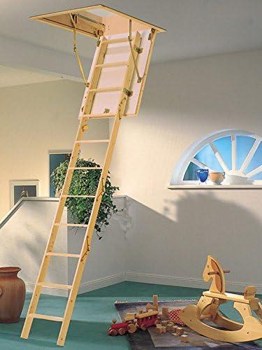 Loft de madera Laddaway MiniFold Rebecca hose - incluye 30 mm con aislamiento trampilla | Madera de pino maciza peldaños | EN 14975 0,96 W/m2 oC | Distancia entre techo y suelo