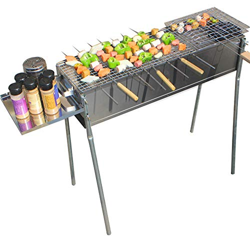Qi Peng-// Barbecue-Grill Charcoal Grill Outdoor Household 5 People Or More Tools Full Stove Roast Lamb Kebab Barbecue Barbecue (Size : Width 22CM Length 80CM)