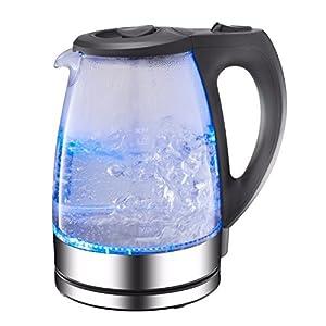 AFK GWK-2200.1C Bouilloire en verre avec éclairage LED 2200W avec filtre à eau GWK 360° 1,7L