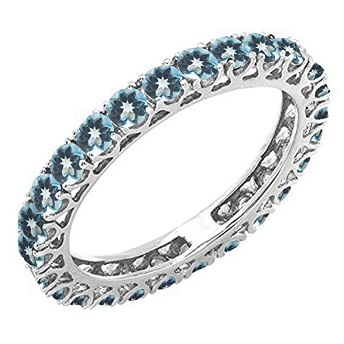Dazzlingrock Collection 1.80 Carat (ctw) 14K Round London blue topaz Ladies Eternity Wedding Band 1 3/4 CT, White Gold, Size 9