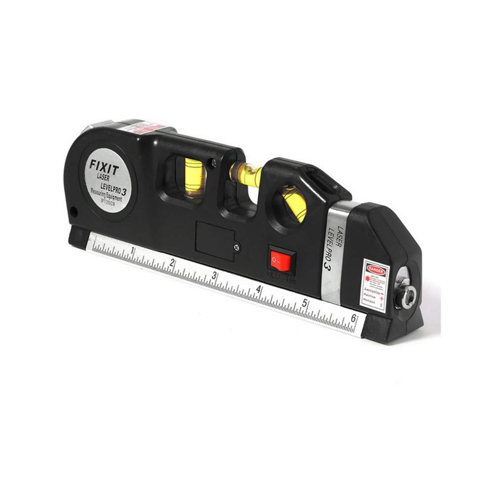 Laser Mesurer Niveau à bulle, Gfeu Multipurpose double face Laser Mètre ruban rétractable, Self mise à niveau Horizon vertical Standard et métriques Règle