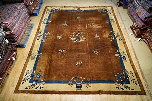 Art Deco Spacious Design Rug Hand Knotted 11