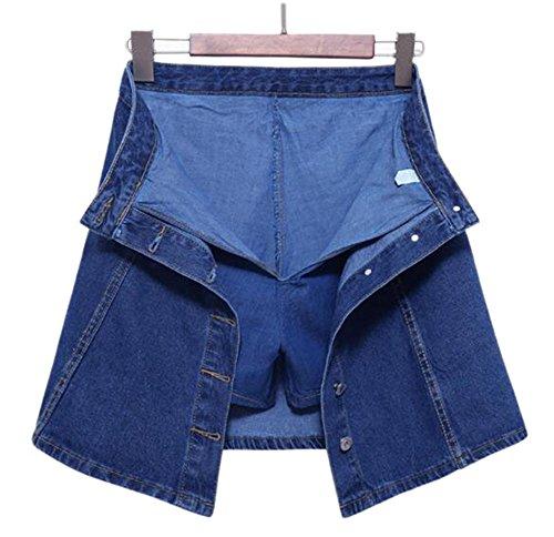 Skort Jean Skirt (High Waist Denim Shorts Skirts Women Summer Culotte Jeans Skirt Shorts Skort Dark Blue S)