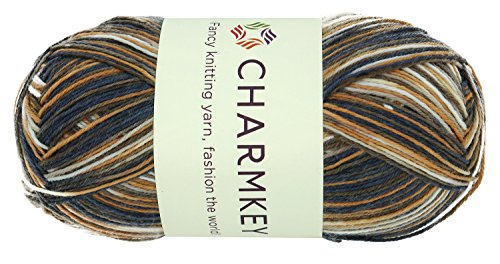 Charmkey Painted Sock Yarn Baby Soft Thin 2 Fine Colorful Prints Wool Ease Blended 3 Ply Superwash Acrylic Self Striping Thread for Stocking Glove Hat, 1 Skein, 3.53 Ounce (Autumn (3 Ply Acrylic Yarn)