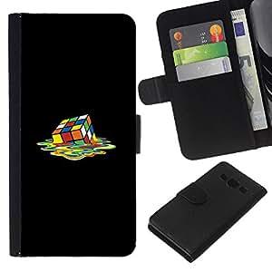 NEECELL GIFT forCITY // Billetera de cuero Caso Cubierta de protección Carcasa / Leather Wallet Case for Samsung Galaxy A3 // Melting Cubo de Rubik