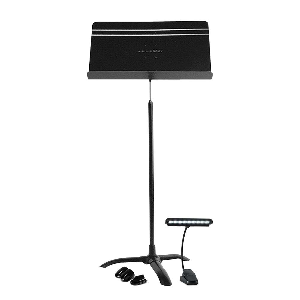 Manhasset Sheet Music Stand with Gator Cases Frameworks Clip-On LED Music Lamp with Adjustable Neck and Floor Protectors, Music Stand Accessory
