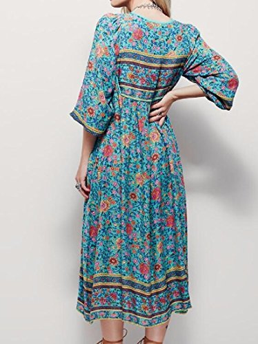 Picture Floral As Coolred Design Boho Unbalanced Fringed Dresses Women Maxi AqOaB