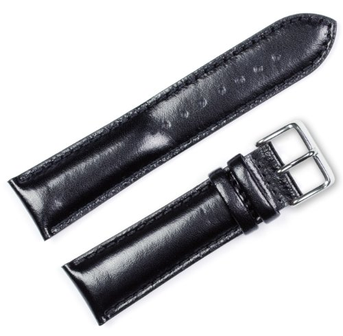 Smooth Leather Watch Band - Chrono - Black 20MM by deBeer Watch Bands
