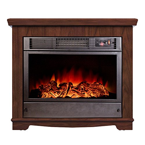 Argo Furniture Sparta Electric Fireplace, Walnut Compact Corner Electric Fireplace