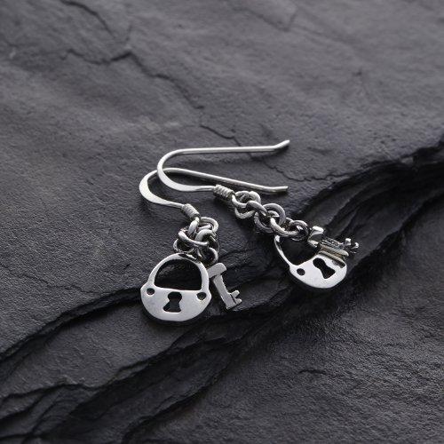 Sterling Silver Padlock Dangle Earrings product image