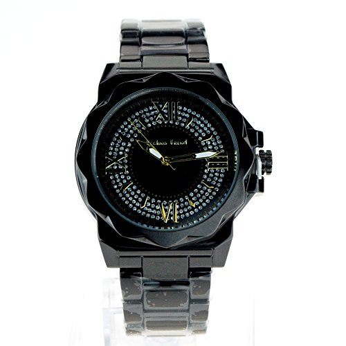 Mens Luxury Iced Out Metal Quartz Analog Round Wrist Watch Gunmetal