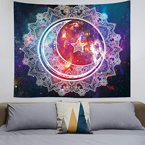 (Bapple Psychedelic Tapestry Wall Hanging, Boho Mandala Tapestry, Celestial Starry Sky Wall Tapestry, Wall Art Decoration for Bedroom Living Room Dorm, Window Curtain Picnic Mat, 59