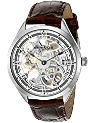 Akribos XXIV Mens AK802GY Mechanical Movement Watch with Silver and See Thru Dial and Brown Leather Strap
