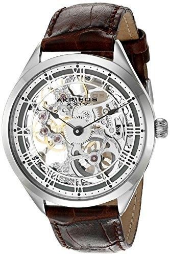 Akribos XXIV Amazon Exclusive Men's AK802 Mechanical Hand Wind Watch (Gold/Brown)