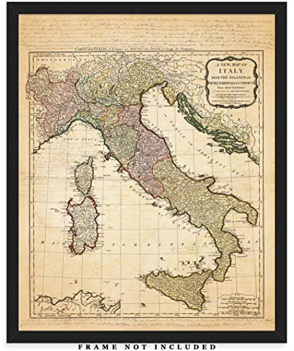 Vintage Italy Map Wall Art Print: Unique Room Decor for Boys, Men, Girls & Women - (8x10) Unframed Picture - Great Gift Idea
