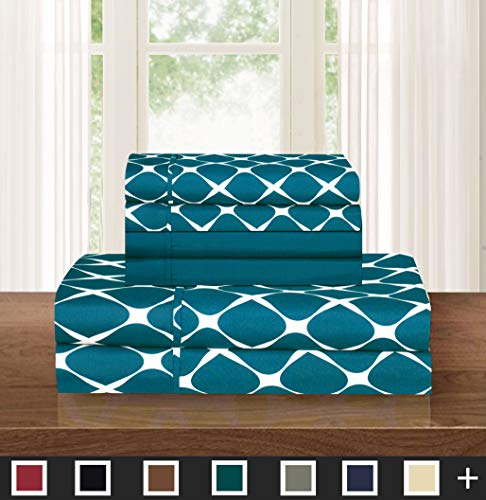 Elegant Comfort  Luxury Softest 6-Piece Sheet, Wrinkle Resistant Milano Trellis Pattern 1500 Thread Count Egyptian Quality Coziest Bedding Set, Full, Teal