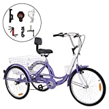 Barbella Single Speed or 7 Speed Adult Tricycle Three-Wheeled Bicycle with Cipher Lock, Bike Pump, Assembly Tools and Instructions to Facilitate Your Assemble 24-Inch Wheel Bicyle (Purple(7 Speed))