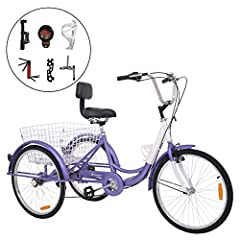 ❤Adult 24-Inch 3-Wheel Bike Riding bicycles can be convenient and fun. However it might be rather troublesome if there are too many luggages for you to carry with. This tricycle with a big basket is surely to meet your need under such circums...