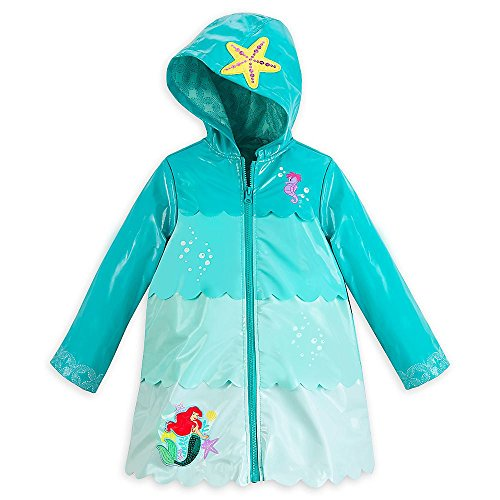 10 Overlapping Pockets - Disney Store Deluxe Ariel The Little Mermaid Rain Jacket Size L Large 9 - 10