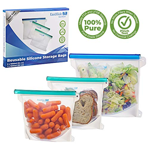 - REUSABLE SILICONE FOOD STORAGE BAG - Sandwich Lunch Snack Freeze Microwave Steam Boil Sous Vide. Dishwasher Safe - Ecofriendly, Airtight sealer. Set of 3 - Size Large 50oz x1, Medium 34oz x2. CLEAR