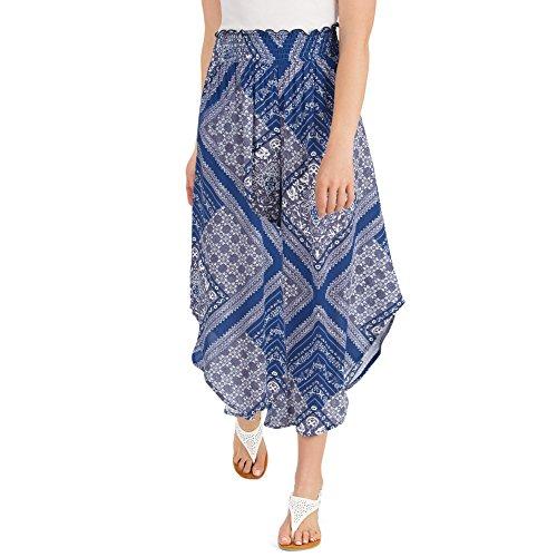 Elastic Woven Skirt Waist (Women's Printed Tulip Hem Faux Skirt Pull-On Elastic Waist Pants, Navy, Medium)