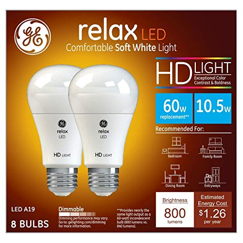 GE Relax 60W Equivalent Soft White 2700K High Definition A19 Dimmable LED 8-Pack