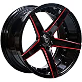 """20 Inch Rims (Black and Red) - FULL Set of 4 Wheels - Made for MAX Performance - Racing Wheels for Challenger, Mustang, Camaro, BMW and More! Rines Para Carros - (20x9"""") - MQ 3226"""