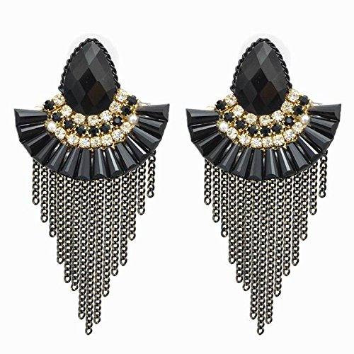 Luxury Fanshaped Crystal Stud Earrings Women Rhinestones Chain Long Tassels Earrings Wedding Jewelry Brincos ()