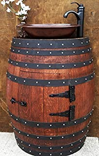 Wine Barrel Bathroom Sink Vanity With Hammered Copper Sink And Faucet