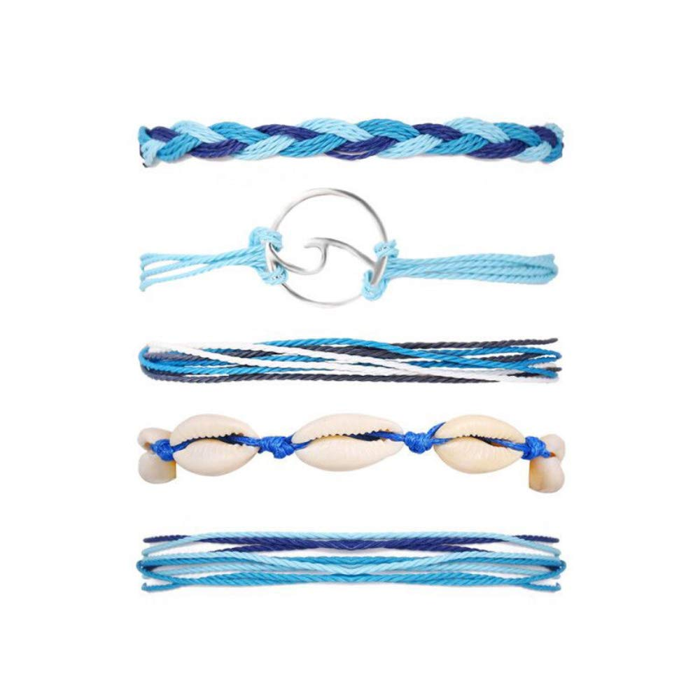 17KM Wave Shell Braided Bracelet Set Handmade Rope Friendship Bracelets Fashoin Charm Jewelry for Women by 17KM
