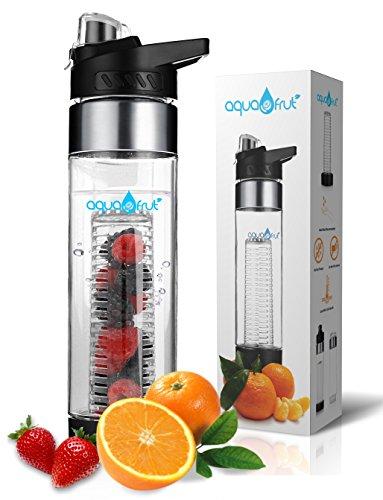 NEW COLORS AquaFrut Bottom Loading Fruit Infuser Water Bottle 24 oz (Black)