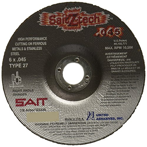 United Abrasives-SAIT 23336 Type 27 6-Inch x .045-Inch by 7/8-Inch Z-Tech High Performance Cutting Wheel, 50-Pack ()
