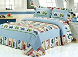 queen sheets cars - HNNSI QUEEN Size Kids Boys Comforter Quilt Set 3PCS, Car and Truck Pattern Cotton Boys Car Sheet Bedspread Kids Bedding Sets (Queen, Trucks and Cars)