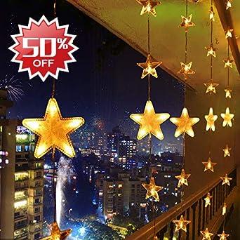 Weihnachtsbeleuchtung Aussen Stern Preise.Led Lichterkette Warmweiß 80 Sterne Lichtervorhang 140 Led Außen