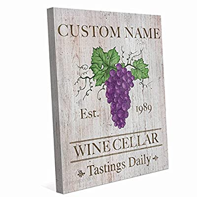 Wine Cellar Tastings Daily Rustic Sign Customizable Custom Name Wall Art Print