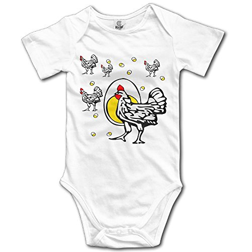 Arromper Roseanne Chicken NewBorn Short Sleeve Baby Climbing Clothes White 12 Months