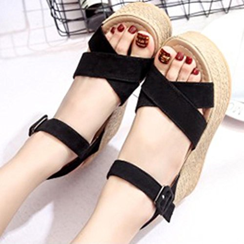 Flock Women FreshZone Peep Black Wedges Shoes Thick Flatform Toe Round Solid Sandals Bottom ZH66Fx5q