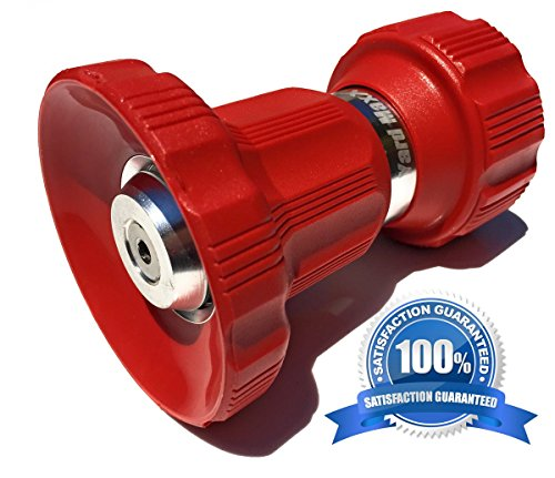 Flow Fire Nozzle - Industrial Grade Fireman Style Garden Hose Nozzle - Twist Nozzle Design- Heavy Duty High Volume Sprayer That's Built to Last, Best for:Car Wash, Watering Lawn (Red)