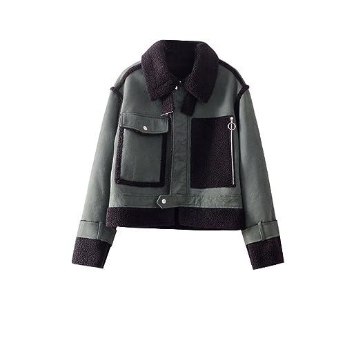 Zip de invierno elegante chaqueta de piel gruesa de color verde oliva todo-en-uno hembra párrafo cor...