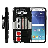MINITURTLE Case Compatible w/ Samsung Galaxy J7 Black Case, J7 Case, Galaxy J7 Case [Armor Reloaded] Rugged Impact Protector + Clip Holster and Stand Heavy Duty Game Controller Retro Review