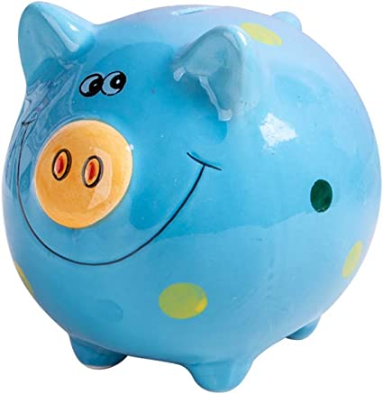 Amazon Com Jyphm Ceramic Piggy Bank For Kids Coin Bank For Boys And Girls Unique Birthday Gift Nursery Decor Piggy Banks Blue 5x5x4inch Toys Games