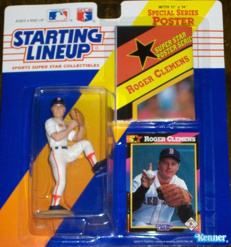1991 - Kenner - Starting Lineup - MLB - Roger Clemens #21 - Boston Red Sox - Vintage Action Figure - w/ Trading Card & 11x14 Special Poster - RARE - Limited Edition - Collectible