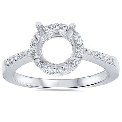 14ct pave diamond halo mount engagement ring setting - Wedding Ring Setting
