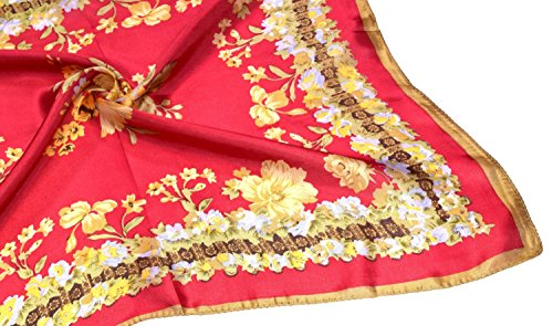 Red Yellow Flowers Printed Small Square Fine Silk Scarf by Bees Knees Fashion (Image #3)